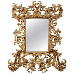 Chippendale Rectangular Handcrafted Gold Foil Wood Mirror Spain, 1970
