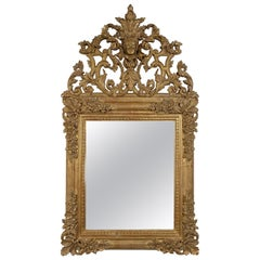 Chippendale Rectangular Leaf Gold Hand Carved Wooden Mirror, 1970
