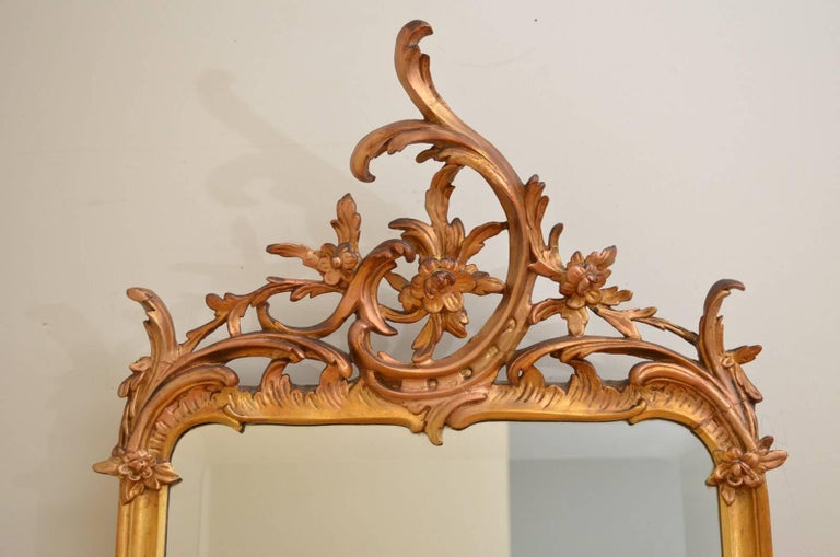 Giltwood Chippendale Revival Giltowood Wall Mirror For Sale