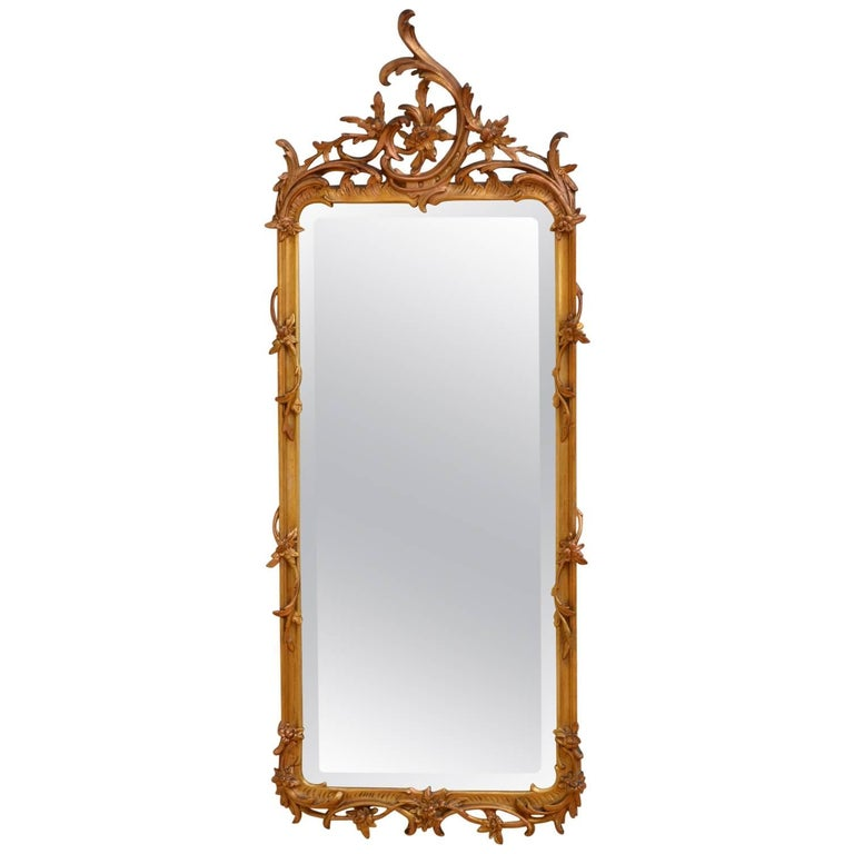 Chippendale Revival Giltowood Wall Mirror For Sale