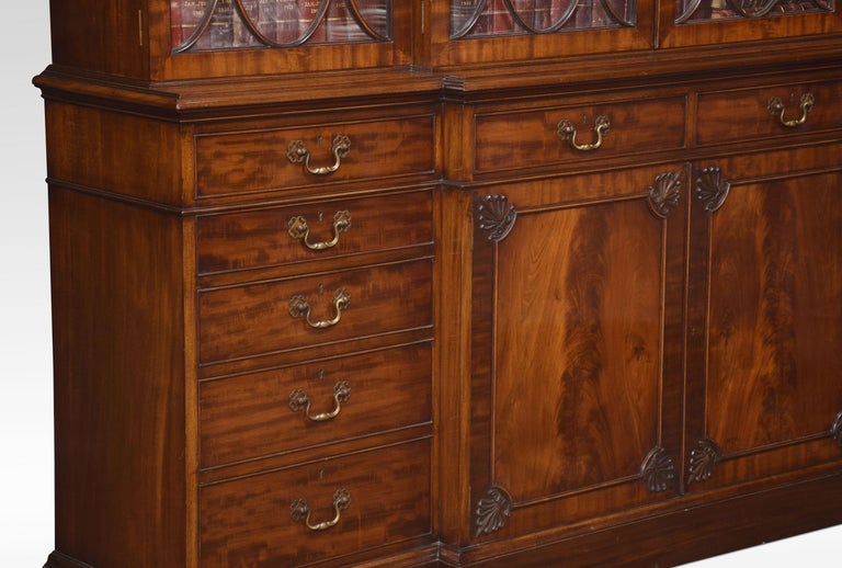 Chippendale Revival Mahogany Four-Door Breakfront Bookcase For Sale 6