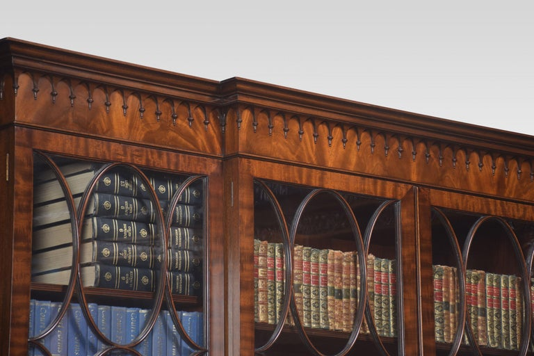 Chippendale Revival Mahogany Four-Door Breakfront Bookcase For Sale 7