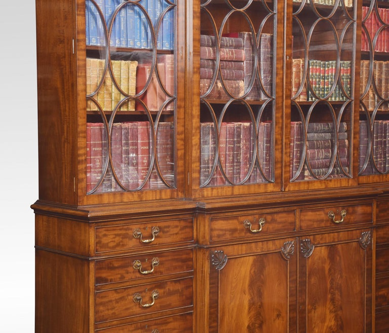 Chippendale Revival Mahogany Four-Door Breakfront Bookcase For Sale 8