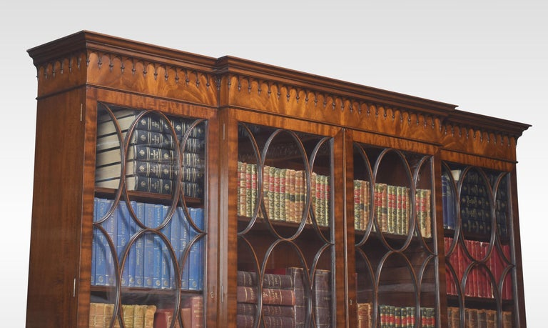 Chippendale Revival Mahogany Four-Door Breakfront Bookcase For Sale 9