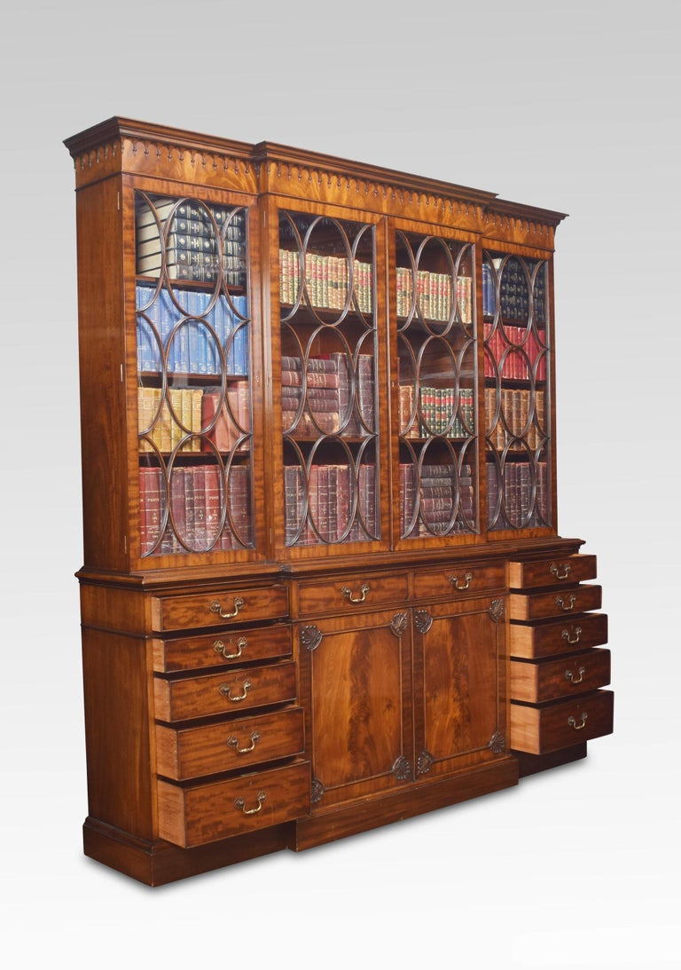 Chippendale Revival Mahogany Four-Door Breakfront Bookcase For Sale 10