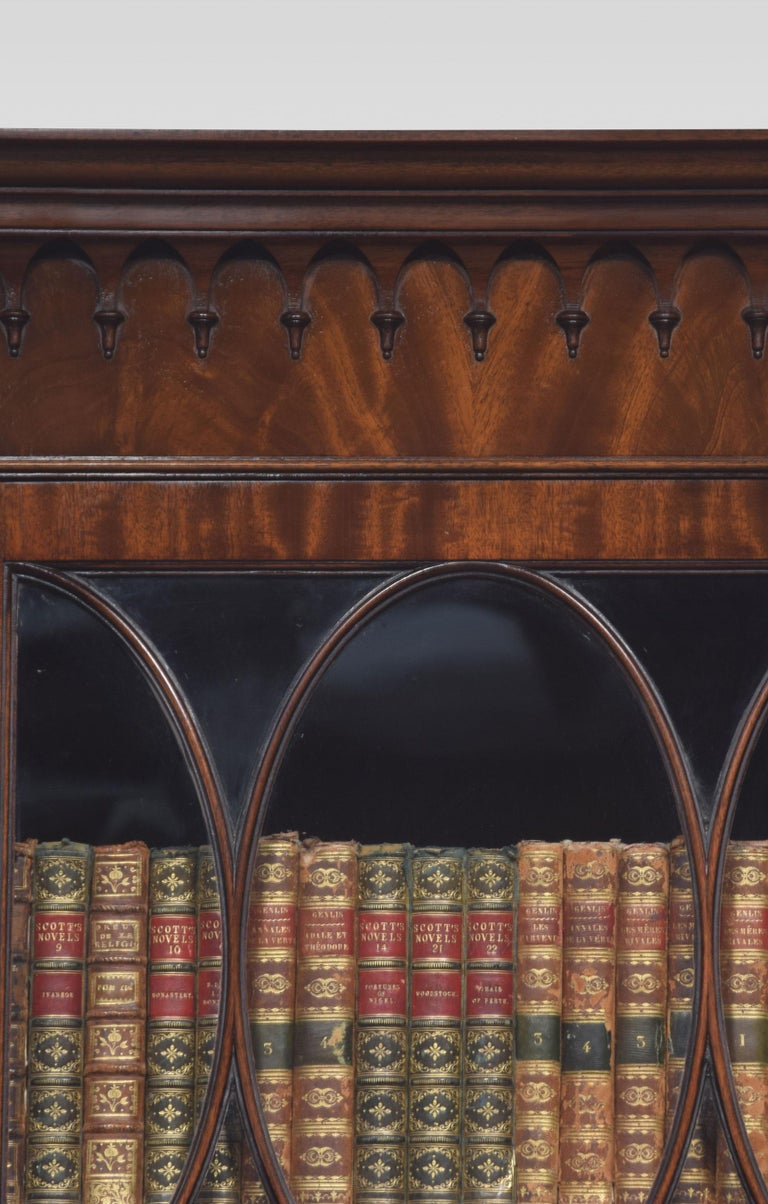 British Chippendale Revival Mahogany Four-Door Breakfront Bookcase For Sale