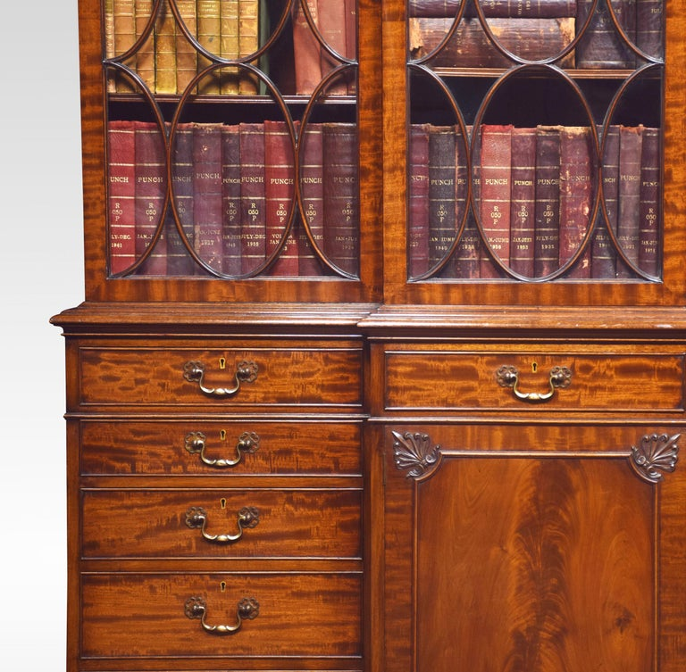 Chippendale Revival Mahogany Four-Door Breakfront Bookcase In Good Condition For Sale In Cheshire, GB