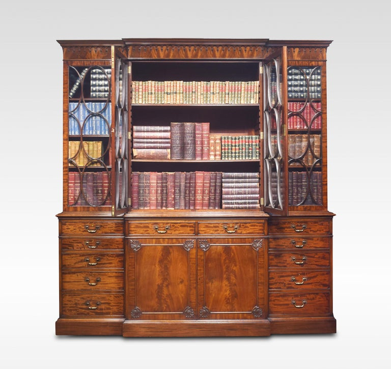 20th Century Chippendale Revival Mahogany Four-Door Breakfront Bookcase For Sale