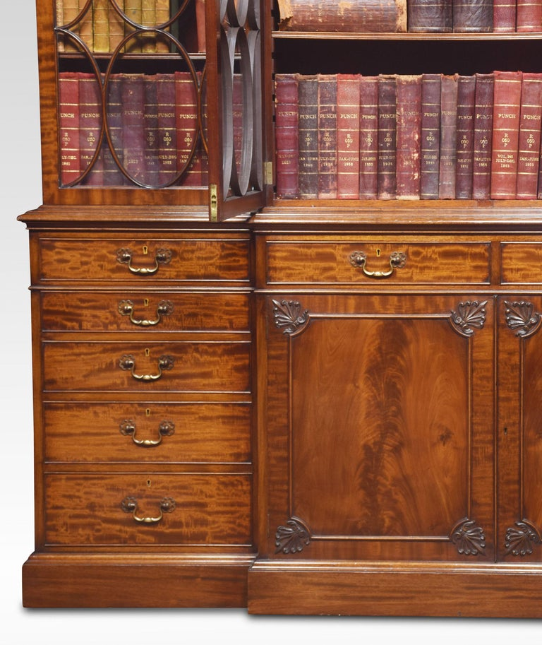 Chippendale Revival Mahogany Four-Door Breakfront Bookcase For Sale 1