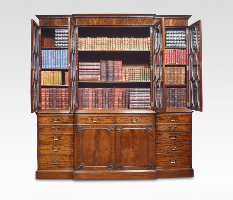 Chippendale Revival Mahogany Four-Door Breakfront Bookcase For Sale 2