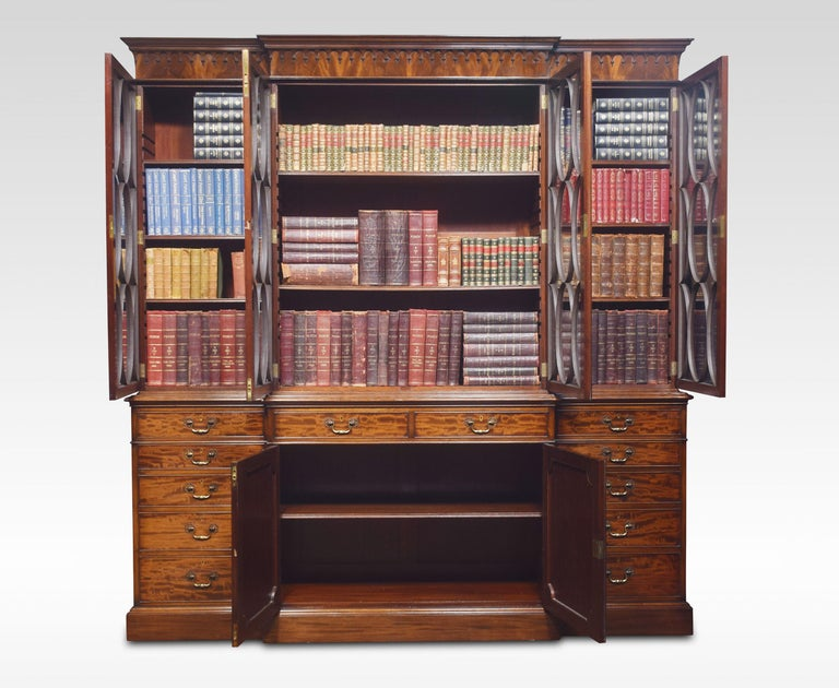 Chippendale Revival Mahogany Four-Door Breakfront Bookcase For Sale 3