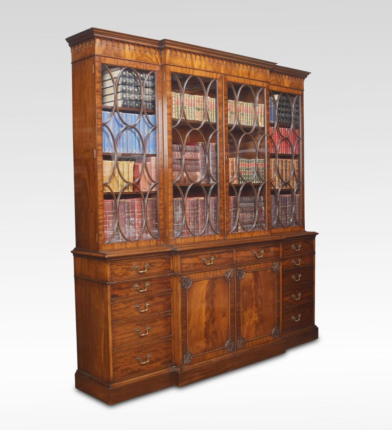 Chippendale Revival Mahogany Four-Door Breakfront Bookcase For Sale 4