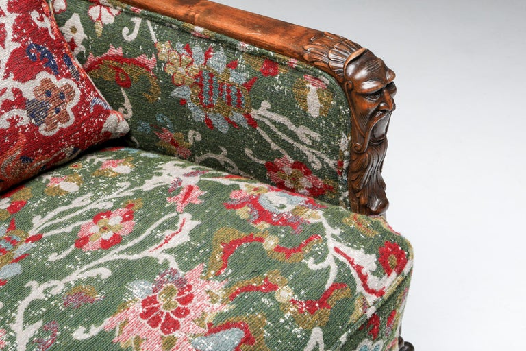 Chippendale Style Armchairs with Claw Feet and Pierre Frey Jacquard For Sale 6