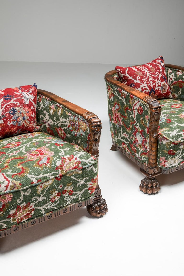 Chippendale Style Armchairs with Claw Feet and Pierre Frey Jacquard For Sale 7