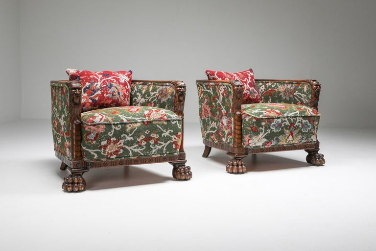 Chippendale Style Armchairs with Claw Feet and Pierre Frey Jacquard In Good Condition For Sale In Antwerp, BE