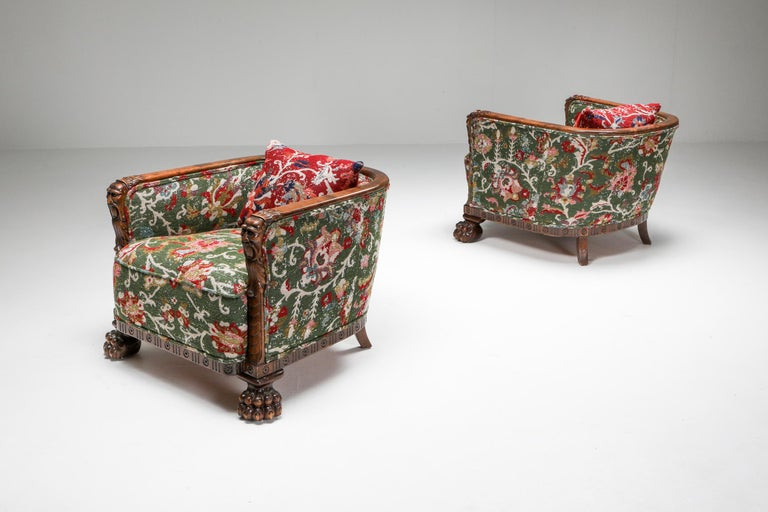 Early 20th Century Chippendale Style Armchairs with Claw Feet and Pierre Frey Jacquard For Sale