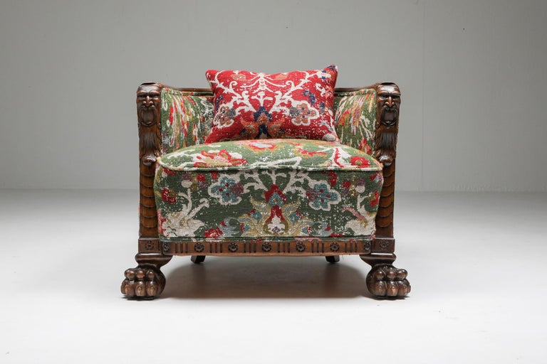 Chippendale Style Armchairs with Claw Feet and Pierre Frey Jacquard For Sale 2