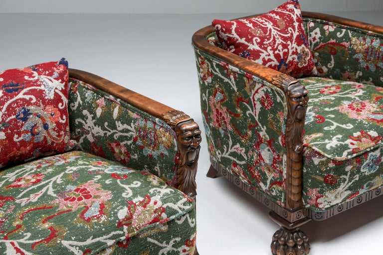 Chippendale Style Armchairs with Claw Feet and Pierre Frey Jacquard For Sale 4