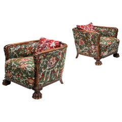Chippendale Style Armchairs with Claw Feet and Pierre Frey Jacquard