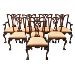 Chippendale Style Carved Ball and Claw Mahogany Dining Chairs, Set of 8