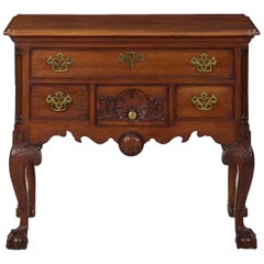 Chippendale Style Carved Mahogany Antique Lowboy Chest of Drawers, 20th Century