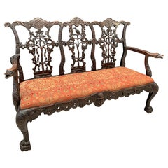 Chippendale Style Carved Mahogany Triple Back Settee, 19th Century, England
