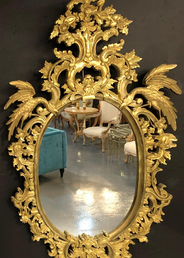 Chippendale Style Console, Wall or over the Mantle Mirrors, a Pair Italian For Sale 4