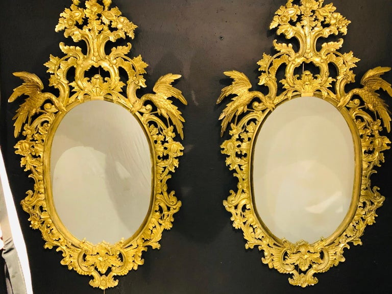 Chinese Chippendale Chippendale Style Console, Wall or over the Mantle Mirrors, a Pair Italian For Sale