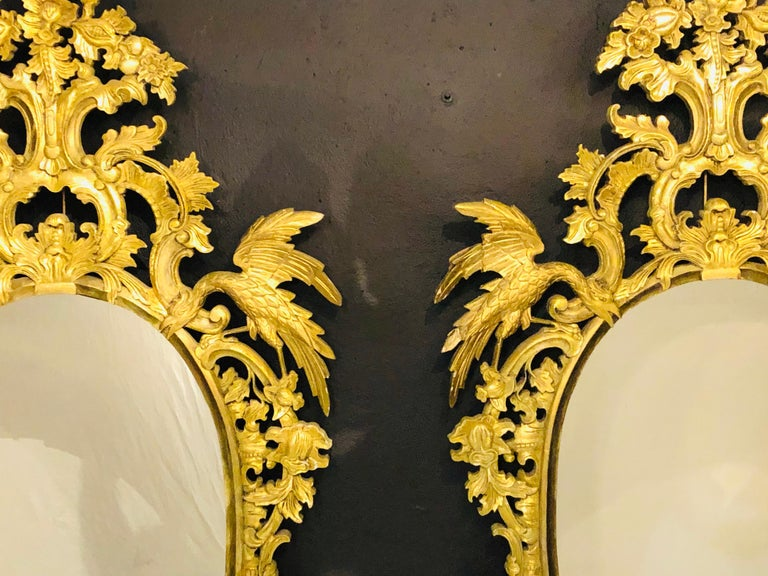 Chippendale Style Console, Wall or over the Mantle Mirrors, a Pair Italian In Good Condition For Sale In Stamford, CT