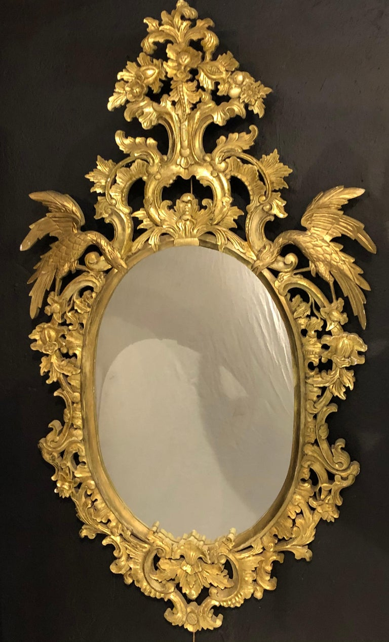 Gesso Chippendale Style Console, Wall or over the Mantle Mirrors, a Pair Italian For Sale