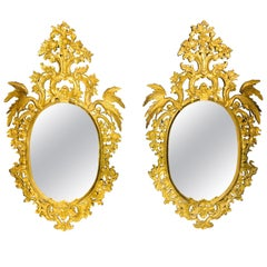 Chippendale Style Console, Wall or over the Mantle Mirrors, a Pair Italian
