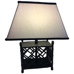 Chippendale Style Faux Bamboo Black Table Lamp with Black Trimmed Silk Shade