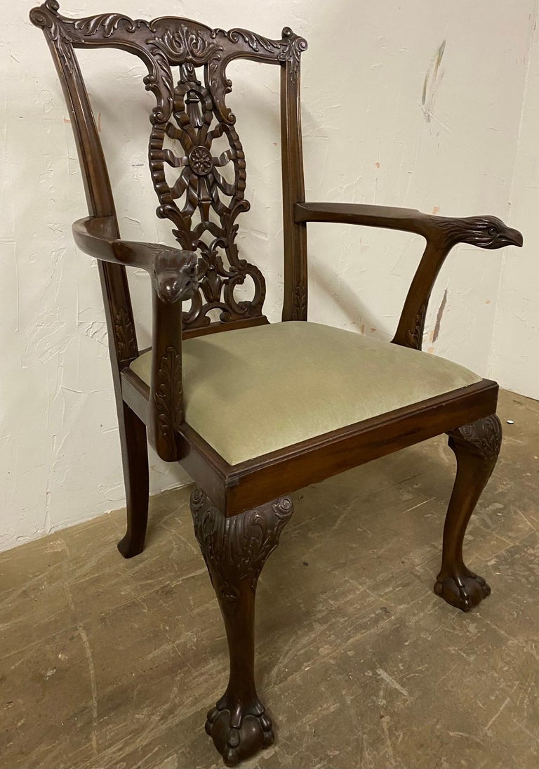 20th Century Chippendale Style Hand Carved Armchair, circa 1900 For Sale