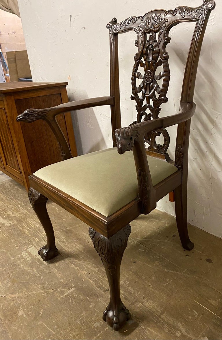 Mahogany Chippendale Style Hand Carved Armchair, circa 1900 For Sale