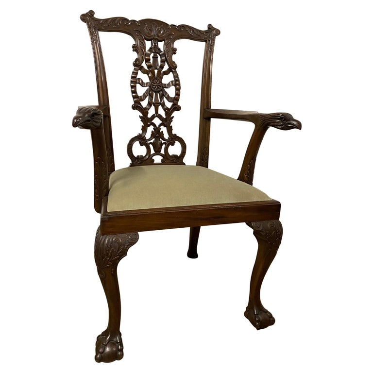 Chippendale Style Hand Carved Armchair, circa 1900 For Sale