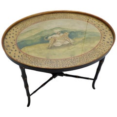 Chippendale Style Hand Painted Faux Bamboo Oval Table