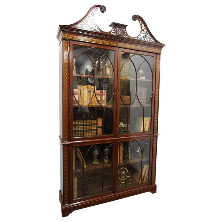 Chippendale Style Inlaid and Glazed Cabinet Bookcase, circa 1870