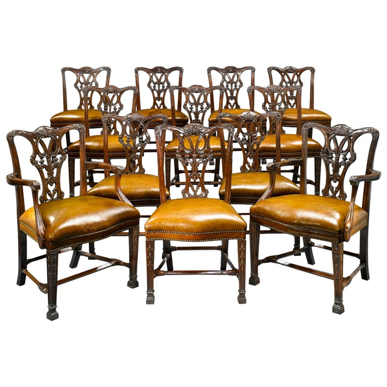 Chippendale Mahogany Dining Room Chairs: Chippendale-Style Mahogany Dining Chairs For Sale At 1stdibs
