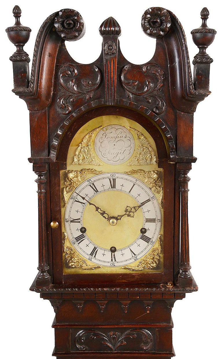 English Chippendale Style Mahogany Grandmother Clock For Sale
