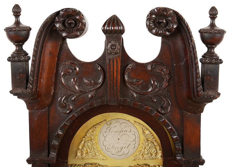 Chippendale Style Mahogany Grandmother Clock In Good Condition For Sale In Brighton, Sussex