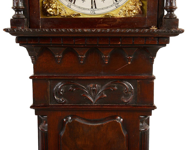 Brass Chippendale Style Mahogany Grandmother Clock For Sale
