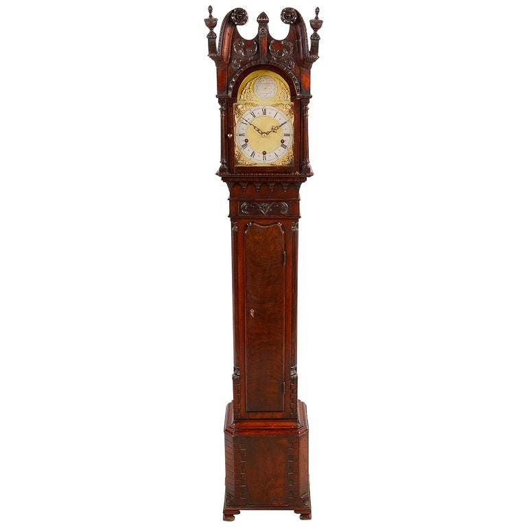Chippendale Style Mahogany Grandmother Clock For Sale