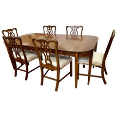 Chippendale Style Mahogany Inlay 7 Pieces Dining Set, Table 6 Chairs
