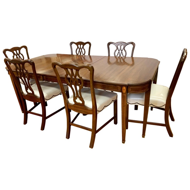 Chippendale Dining Room Set: Chippendale Style Mahogany Inlay 7 Pieces Dining Set