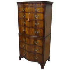 Chippendale Style Mahogany Serpentine Fronted Chest on Chest