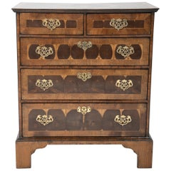 Chippendale Style Oyster Veneered Small Chest of Drawers