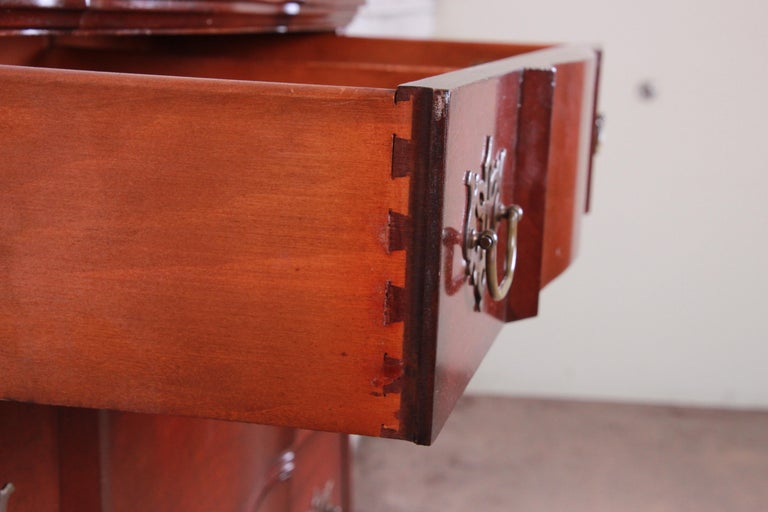 Chippendale Style Solid Mahogany Highboy Dresser By Kling