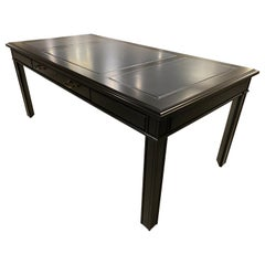 Chippendale Style Writing Desk, Black Lacquer Grey Leather Top