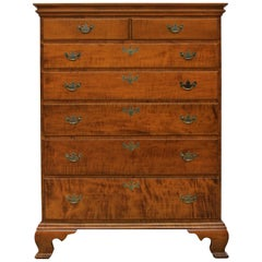 Chippendale Tiger Maple Six Drawer Dresser by Scott James Furniture