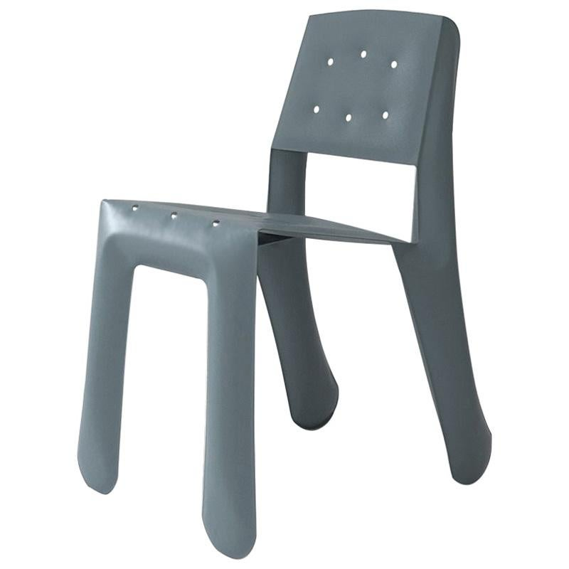 Chippensteel 0.5 Polished Blue Grey Color Carbon Steel Seating by Zieta